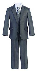 Magen-Kids-Boys-Formal-Bridal-5-Pcs-Set-Suit-Size-1-18-GRAY-2-Buttons-9018-251