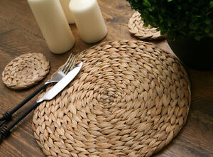 Set of 8 NATURAL Water Hyacinth WEAVE PLACEMATS & 8 COASTERS (16 Piece)