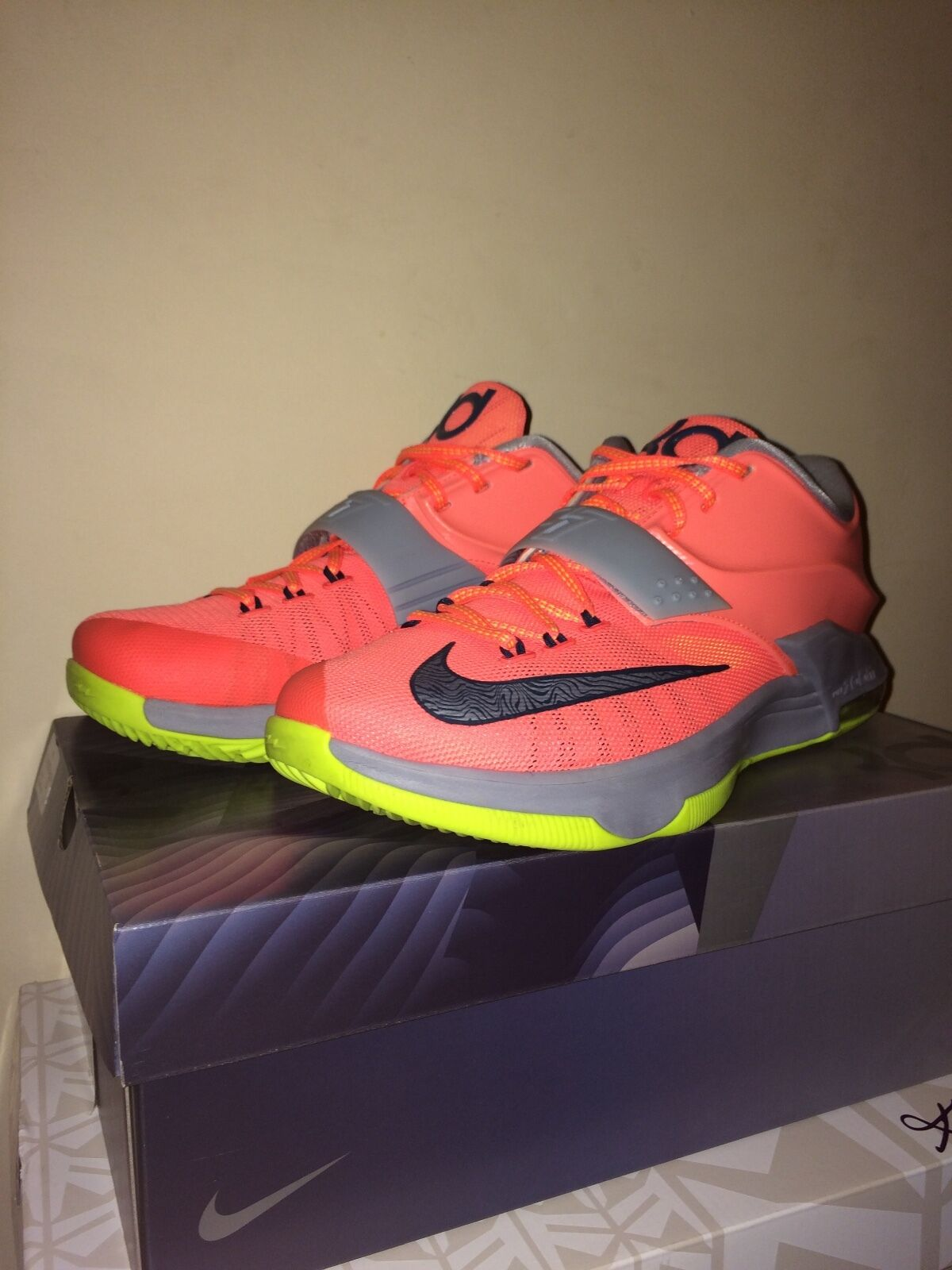 Uomo Nike KD 7 3500 Degrees (brght mng/spc bl-lt mgnt gry) Size: 9.5 653996-840