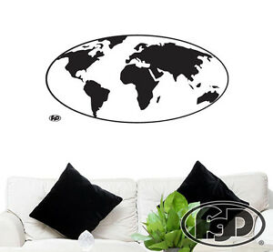 Wall decal globe world map in white or black 455x22 globe wall image is loading wall decal globe world map in white or gumiabroncs Choice Image