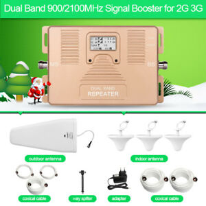Signal-Booster-2G-3G-Dual-Band-900-2100MHz-Repeater-three-Ceiling-antenna-800m2