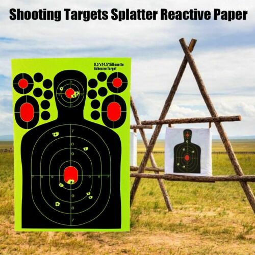10 Pcs Target Shooting Splatter Reactive Training Fluorescent Paper Rifle Pistol