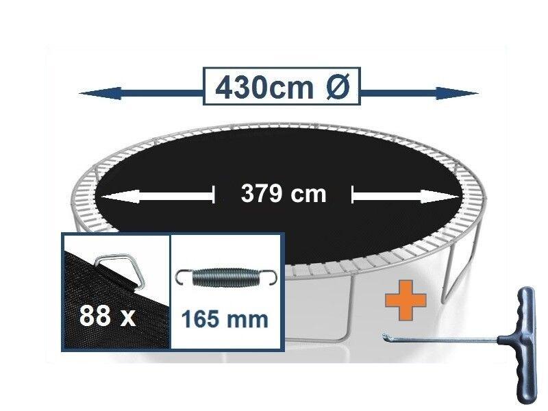 Trampolin Sprungtuch Sprungmatte Zubehör (430 cm Ø, 88 Ösen,Federn 16,5 cm)