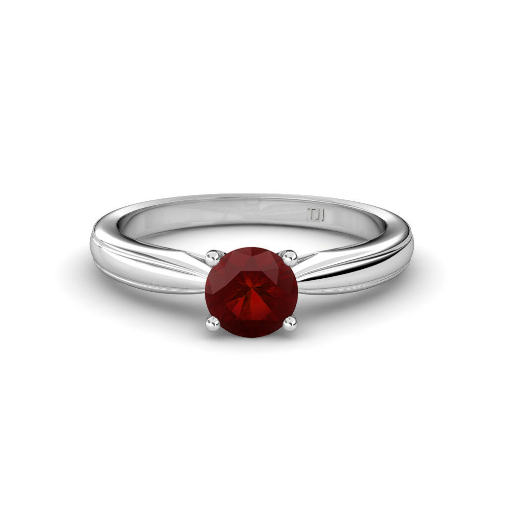 Round Red Garnet Women Solitaire Engagement Ring 14K gold JP 80008