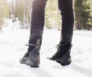 4ffe9a55a30 Details about UGG AZARIA BLACK WATERPROOF LEATHER WOMEN`S DUCK BOOTS SIZE  US 6/ EU 37