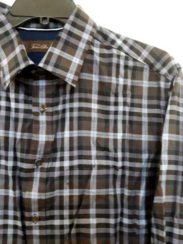 Details about  /Tasso Elba Brown Plaid 100/% Cotton Long Sleeve Dress Shirt LT Big /& Tall