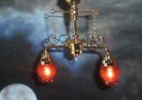Dolls House Lighting 2 Down-arm Chandelier W/cranberry Shade El304