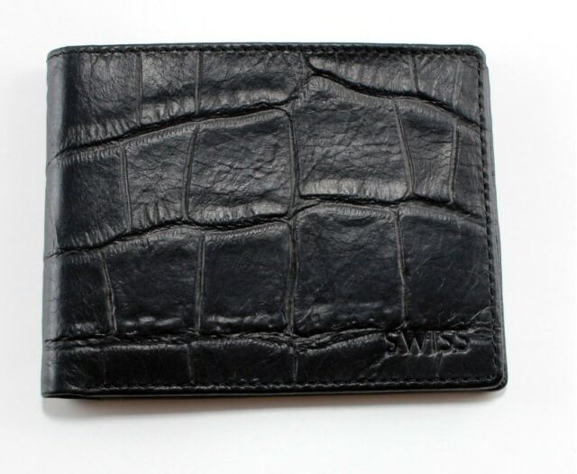Swiss Pro Men's Soft Leather Wallet CROC Bifold Thin NEW
