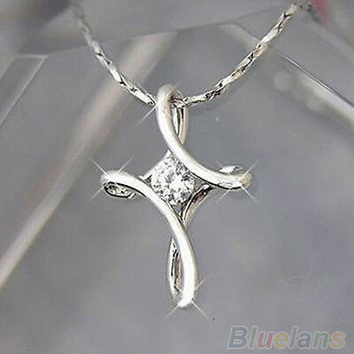 Silver White Plated Crystal Rhinestone Infinity Cross Necklace Pendant Chic B54U