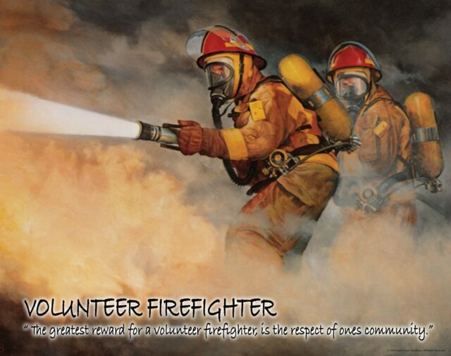 Firefighting Motivational Poster Art Fireman Equipment Badge Helmet Tools MVP183