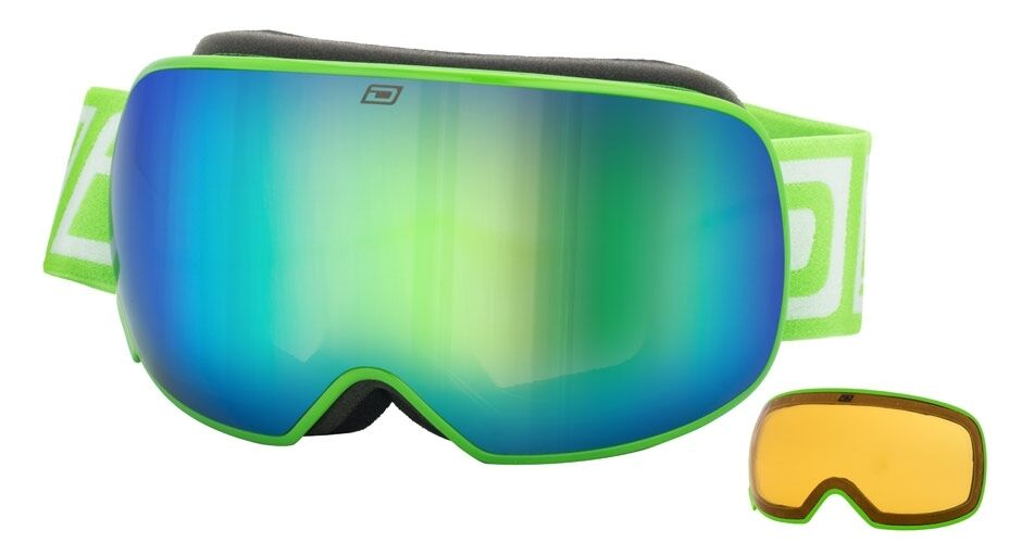 DIRTY DOG MUTANT 2.0 MAGNETIC GOGGLES GREEN TWO LENSES ADULT SKI SNOWBOARD 54189