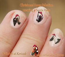 SELECTION OF CHRISTMAS HORSES Santa Hat 24 Nail Art Stickers only from Kerioak