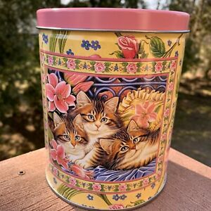 Vintage CAT CAN Metal Tin Kitten Canister Cat Food Storage Treat Container 1998