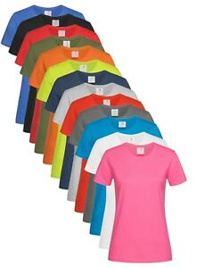Femmes Compatible Avec Coton Uni Col Rond Manches Courtes T-Shirt
