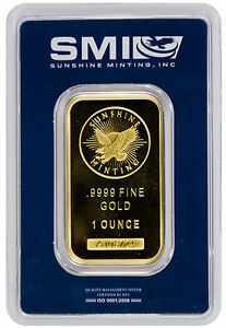 Sunshine Minting Incorporated 1 Troy Oz 9999 Gold Bar MADE IN USA SKU26817