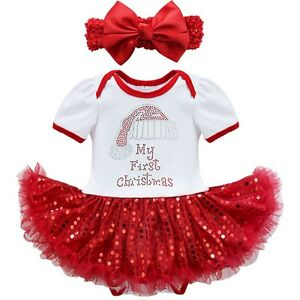 dd5796ea0 Newborn Baby Girl Christmas Santa Romper Tutu Dress Xmas Outfits ...