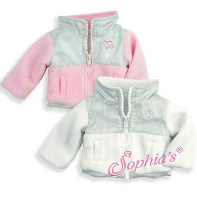 Jacket Nylon and Fleece Pink and Gray fit 18 inch dolls American Girl coat