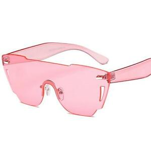 eb04d744bf9 Image is loading Transparent-Cat-Eye-Sunglasses-Women-candy-Color-Rimless-