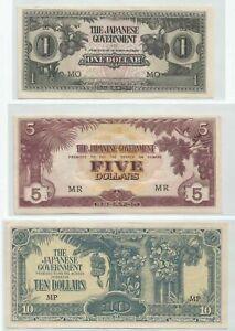 Malaya-Japanese-Invasion-JIM-1-5-10-dollar-set-of-3-pcs-UNC