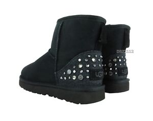 Image is loading UGG-Classic-Mini-Studded-Bling-Black-Suede-Fur-