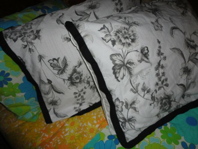 MARTHA STEWART CHARCOAL BLACK TOILE FLORAL (PAIR) KING PILLOW SHAMS STRIPES