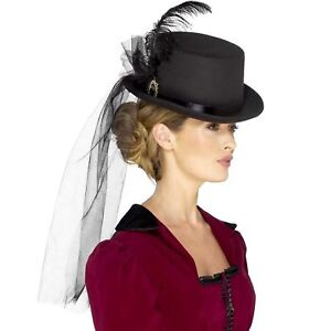 Deluxe-Ladies-Victorian-Top-Hat-Steampunk-Fancy-Dress-Costume-Womens-Accessory