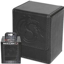 2 Black Deluxe Leatherette Deck Box Plus 160 Black Deck Guard Sleeve Protectors
