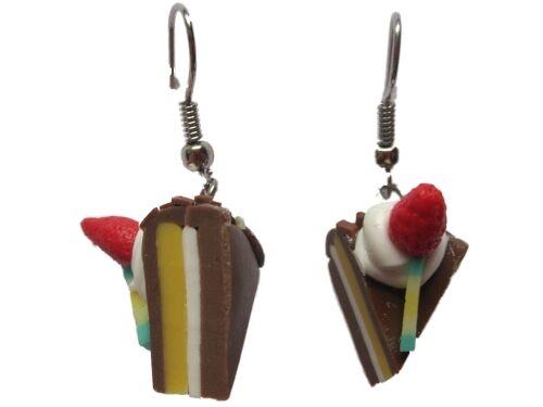 Ohrringe Hänger handgemacht Kuchen Kuchenstück Torte Kirsche Erdbeere Schokolade