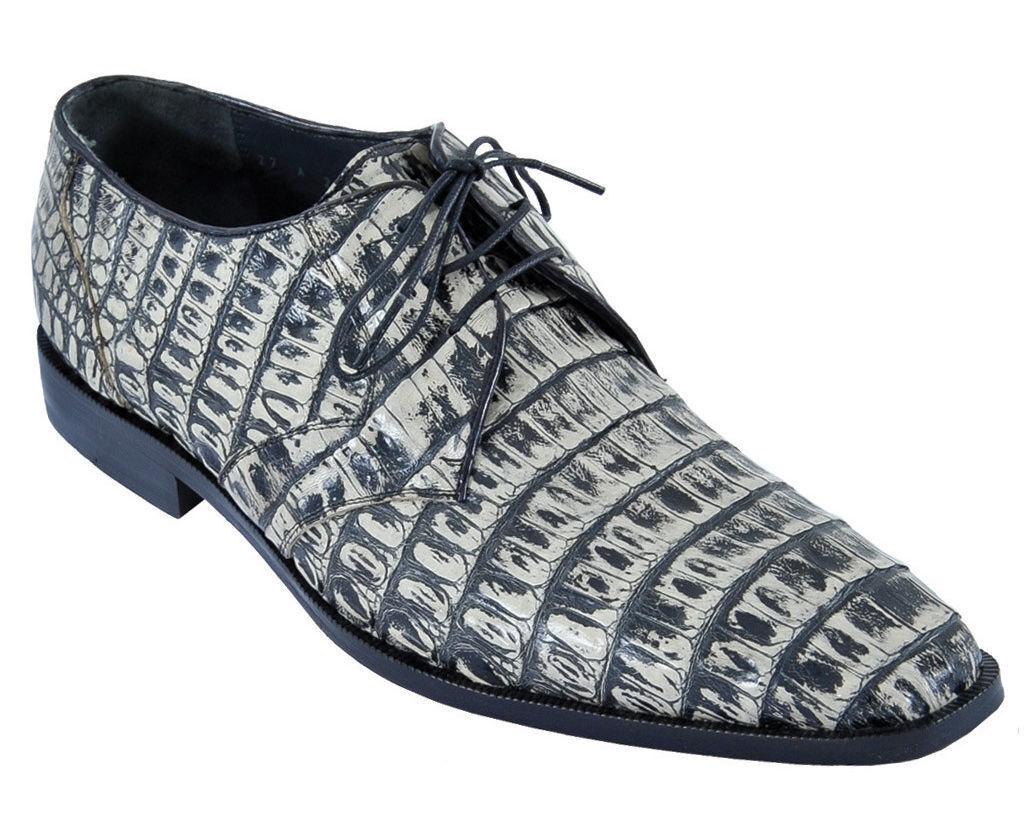 LOS ALTOS GENUINE RUSTIC nero CROCODILE CAIMAN BELLY OXFORDS DRESS scarpe EE