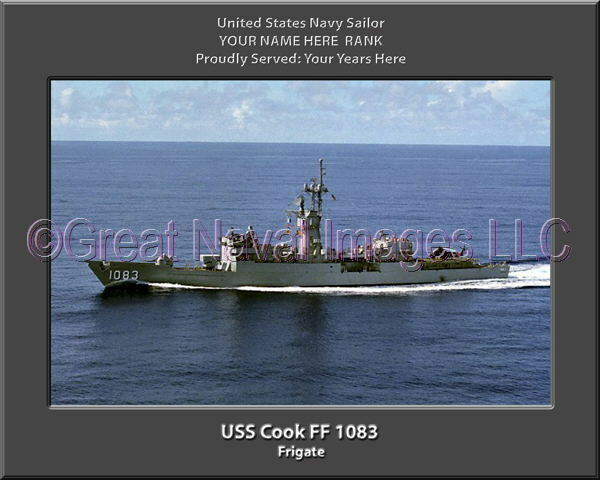 USS Cook FF 1083 Personalized Canvas Ship Photo Print Navy Veteran Gift