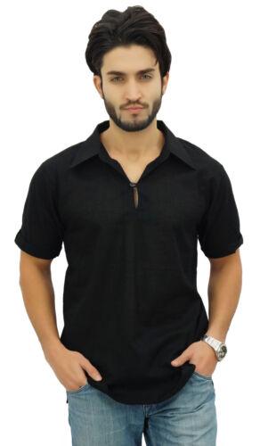 Atasi Men/'s Short Black Cotton Kurta Collar Shirt Indian Casual Clothing