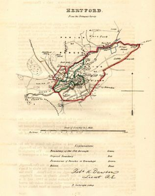 Hertford Borough/town Plan Reform Act Dawson 1832 Old Map New Varieties Are Introduced One After Another Hertfordshire