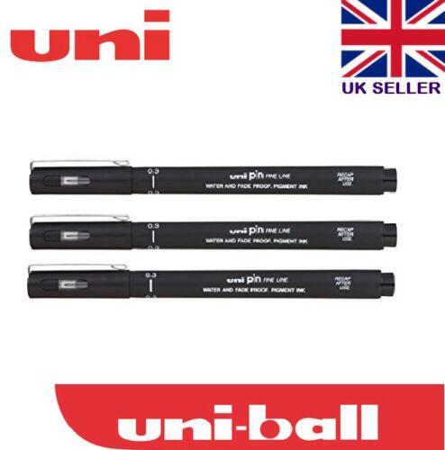 3 x Uni PIN 0.4 mm Drawing Stylo Fineliner Ultra Fine Line Marker in Black Line