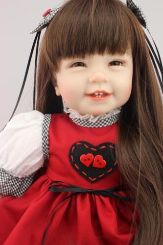 55cm High Vinyl Girl Toy Reborn Baby Doll Gift Red Dress Heart Lovely 22in
