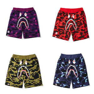 New Men BAPE Camouflage Shark Head Shorts A Bathing Ape Casual Beach Shorts
