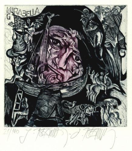 BEDNARIK Leo, Mirabella signed etching ex libris G very large size 2 colors