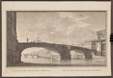 Vintage Veduta Del Ponte Di S. Trinita Vue Du Pont De La Sainte Lithograph tob