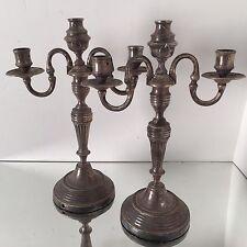 Paire de Chandelier Bronze Argenté XIX Ancien French Argenterie Argent Empire