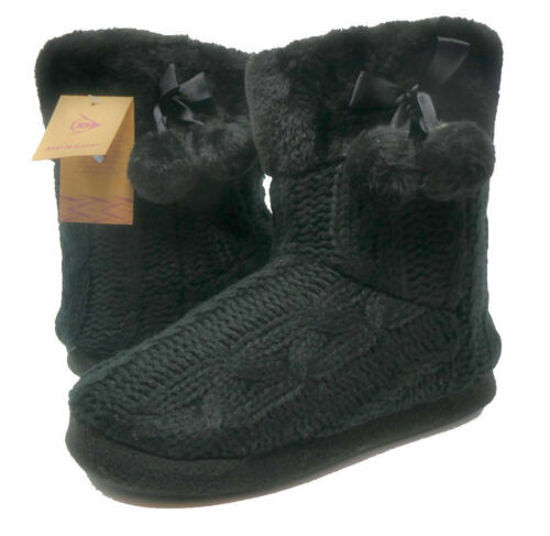 Womens Ladies Slipper Boots Knitted Upper with Pom Poms Famous Dunlop