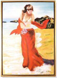Tela-Quadro-a-Olio-Telaio-Hula-Ragazze-Hawai-Vintage-Parete-Deco-Regalo-90x60-CM