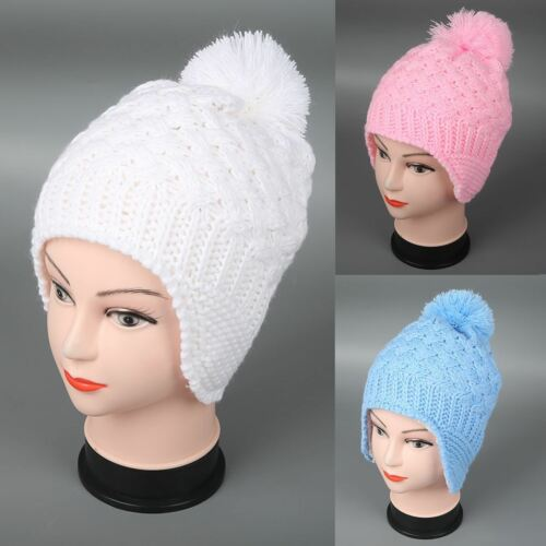 Pom-Pom Baby Hat Toddler Winter Knitted Ear Flap Cap Kids Beanies Children/'s Hat