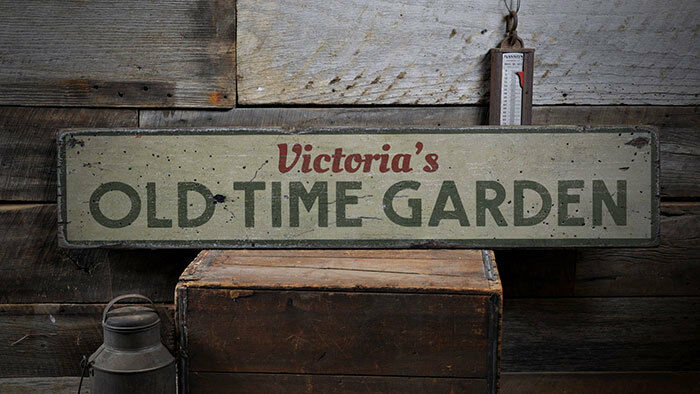 Old Time Garden Sign, Old Time Garden Decor -Distressed Wooden Sign ENS1001894