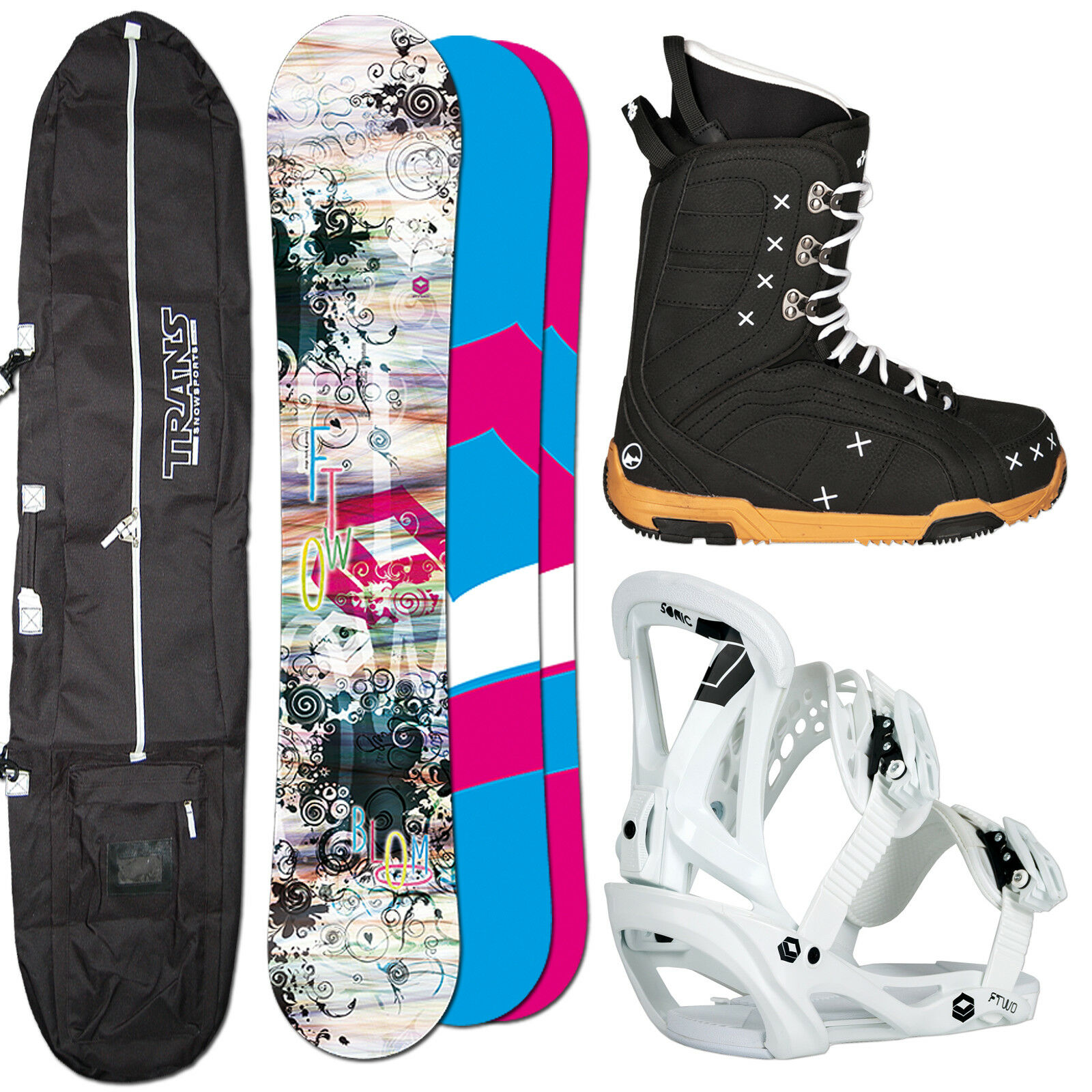 Women's Snowboard Set Ftwo Bloom 154 cm + Ftwo Sonic Binding SIZE M + Boots+ Bag
