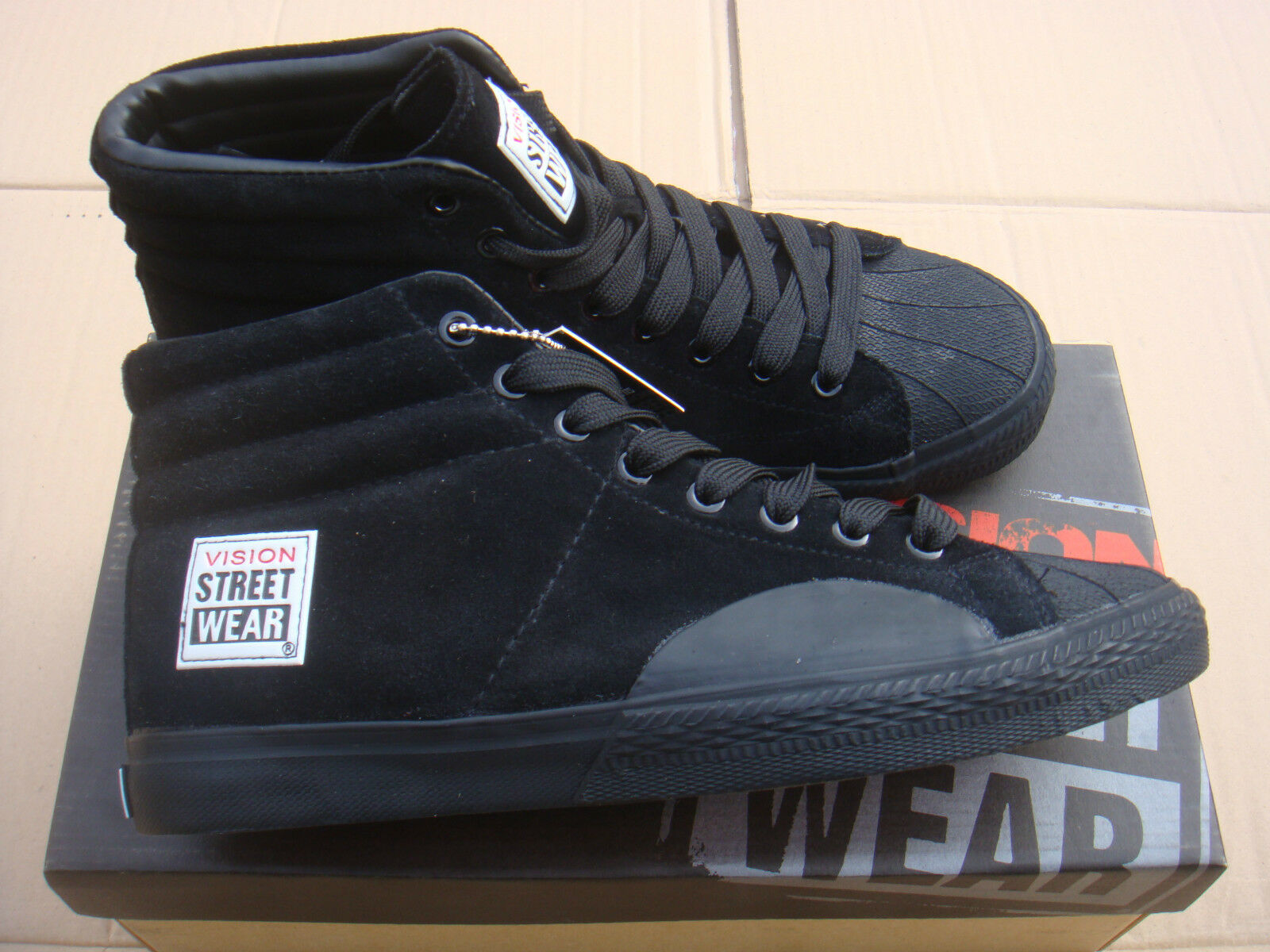 New SKATEBOARD BLACK vision street wear LEATHER HI trainers UK Größe 10