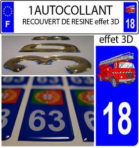 3 stickers plaque immatriculation auto DOMING 3D RESINE DRAPEAU ESPAGNE N° 03