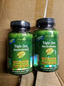 2 pack IRWIN NATURALS TRIPLE-DIET MAX ACCELERATOR 78 SOFTGELS exp7/20 free ship