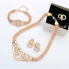 Charming Bridal Gold Plated Crystal Jewelry Sets Necklace Earring Ring Bracelet
