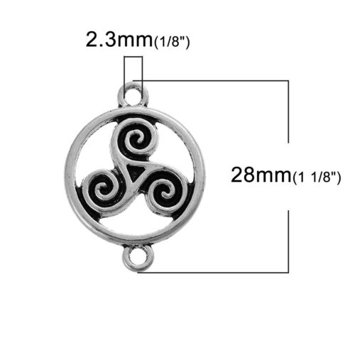 Celtic Knot Connector Tibetan Silver Charms 28mm  Pack of 5