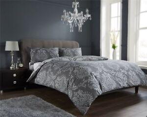 Luxury Damask Charcoal Gold Duvet Quilt Cover Bedding Set Single
