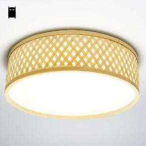 Image Is Loading Round Bamboo Wicker Rattan Led Ceiling Light Fixture